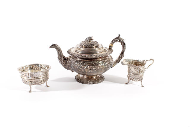 A 19th century silver teapot Probably by J & T Settle Gunn and Co, Sheffield date letter indistinct  (3)