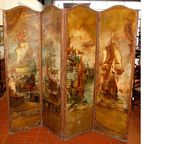 A 19th Century Continental four fold screen.