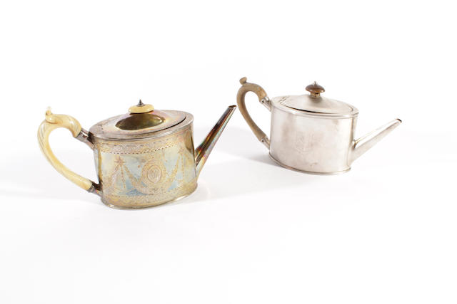 A George III silver teapot Maker's mark 'WP', London 1809,  (2)