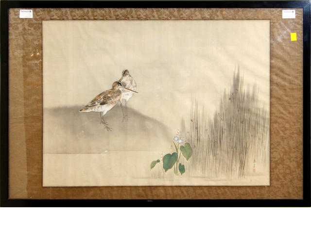 A Japanese painitng on silk,