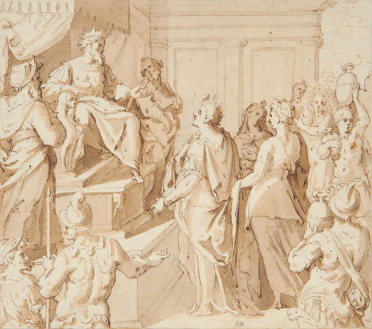 Italian School, 17th Century Esther and Ahasuerus. Together with a Circle of Cornelis Saftleven, <i>A boy standing</i>. (2)