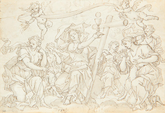 Spanish School, 17th Century A figure holding a raised Chalice, flanked by angels  (2)