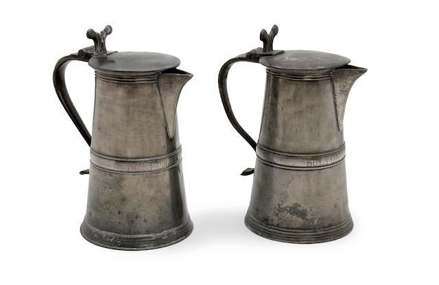 Two similar 18th century Scottish pewter lavers