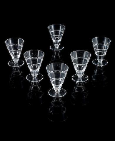 Lalique 'Vouvray' a Set of Six Liquor Glasses, circa 1955