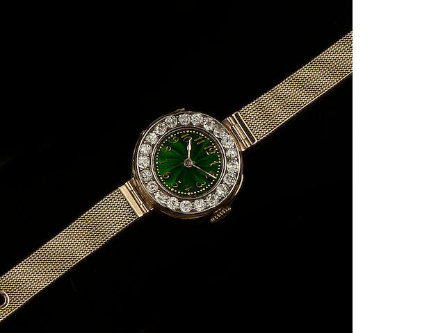 Le Roy & Fils: An enamel, diamond and seed pearl wristwatch