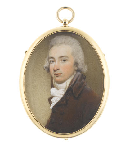 Henry Edridge (British, 1769-1821) A Gentleman, wearing brown double-breasted coat, cream waistcoat, white frilled chemise, stock and cravat, his hair powdered and tied with a black ribbon bow