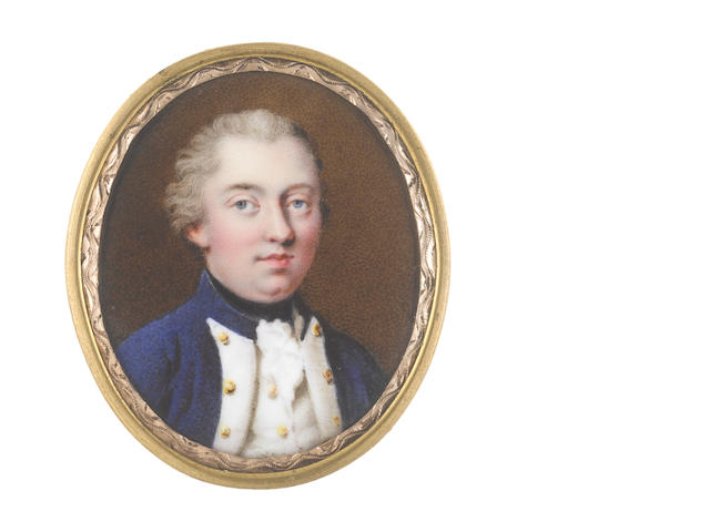 Johann Heinrich von Hurter (Swiss, 1734-1799) A Naval Officer, wearing blue coat with standing collar and white facings, white waistcoat and frilled chemise, black stock, his hair powdered