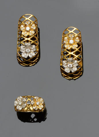 A diamond set ring and earring suite (2)