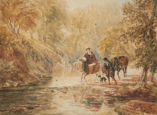 David Cox (British, 1783-1859) Crossing the ford