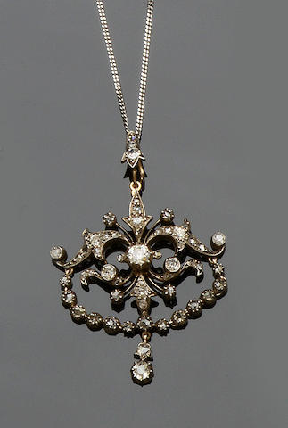 A late 19th century diamond pendant