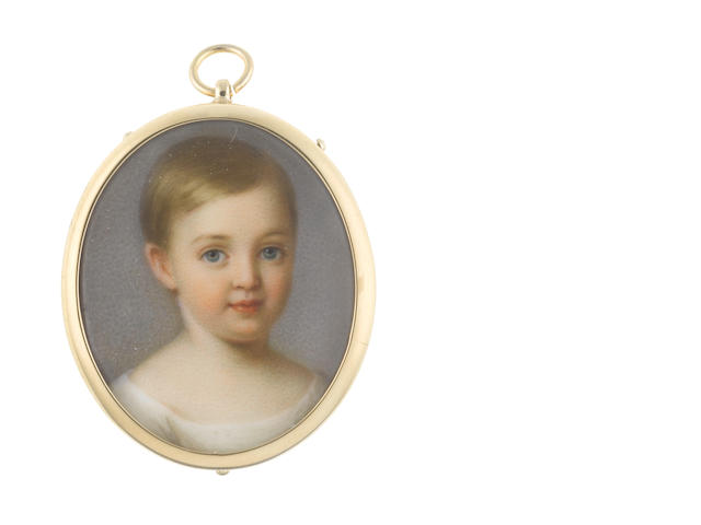 Attributed to Richard J. Schwager (Austrian, 1822-1880) A Young Child, wearing round-necked white chemise, the fair hair worn short and parted to the right