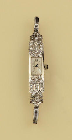 An Art Deco diamond set cocktail watch,