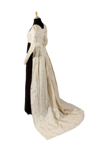 A circa 1800 silk brocade open robe