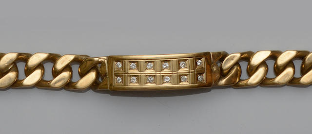 A gentleman's 9ct gold diamond set bracelet