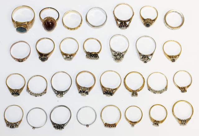 A collection of vari gem-set dress rings, (27)