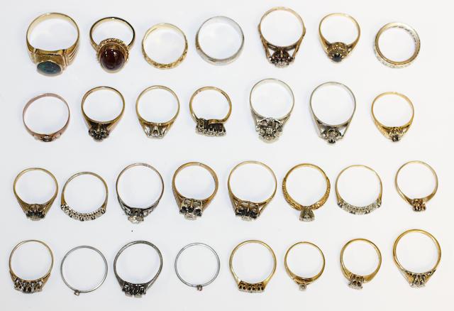 A collection of vari gem-set dress rings, (27)