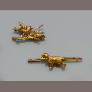 A vari gem-set bird brooch and a spaniel brooch  (2)