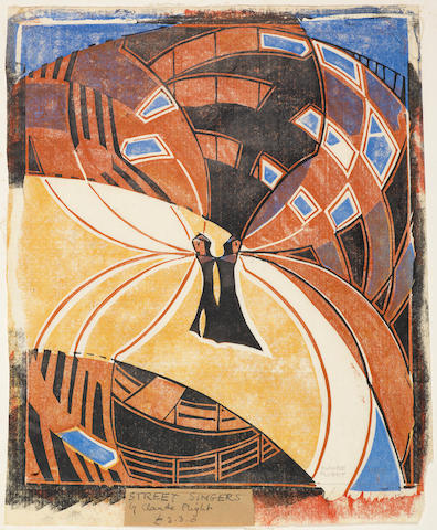 Claude Flight (British, 1881-1955) Street Singers The rare linocut printed in yellow ochre, cobalt blue, vermilion and black, 1925, a richly inked impression, on thin cream oriental laid, signed and numbered 10/50 in pencil, additionally inscribed and annotated '£3.30' in pencil on a label pasted to sheet in lower margin, with margins, 312 x 262mm (12 3/8 x 10 3/8in)(B)
