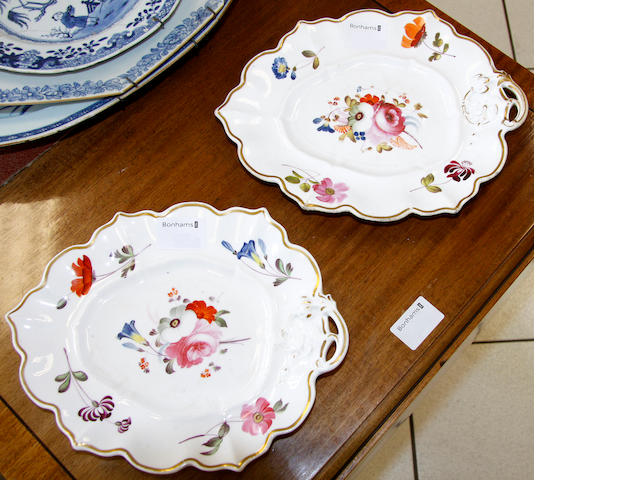 A pair of English porcelain leaf-shaped dishes, 19th century