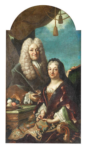 Piedmont School, 18th Century Portrait of a gentleman, holding a snuff box, standing beside his wife, who is seated holding an embroidery