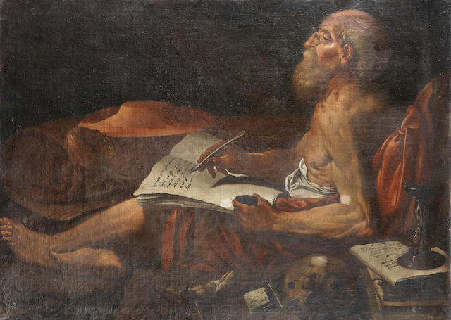 After Lionello Spada, 17th Century Saint Jerome studying unframed