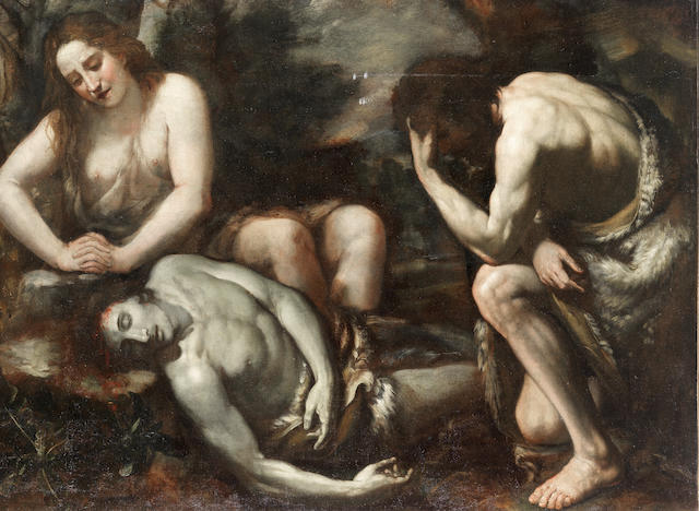 Florentine School, 17th Century Adam and Eve lamenting the death of Abel unframed