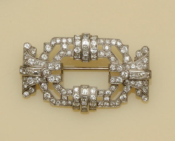 An Art Deco diamond panel brooch