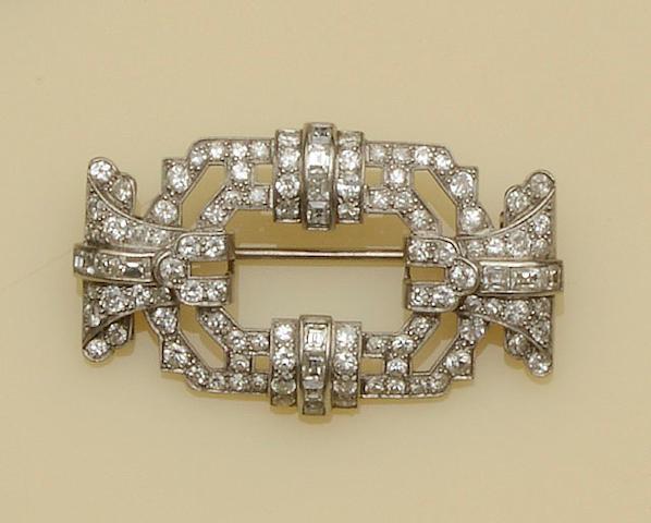 An Art Deco diamond panel brooch