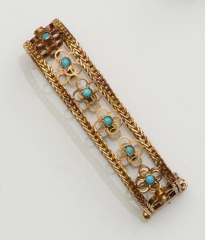 A turquoise set bracelet