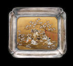 A silver, gold lacquer and Shibayama-inlaid rectangular tray By Mitsuyuki, Meiji Period