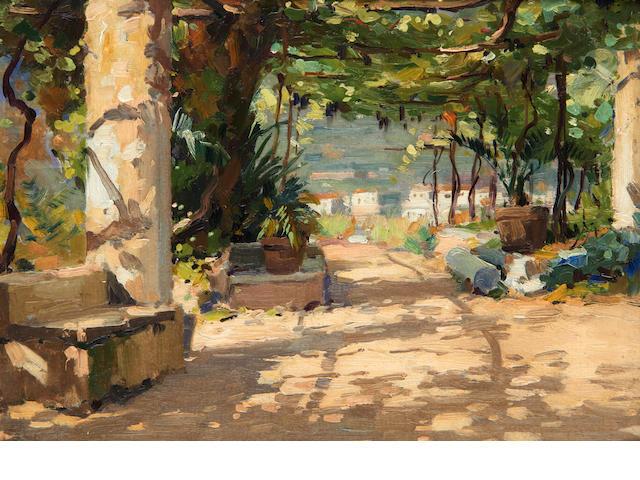 Luca Albino (Italian, 1884-1952) The street leading to the Hotel Belvedere at Ravello; The garden of Hotel Belvedere 31 x 21cm (12 3/16 x 8 1/4in); 23 x 33cm (9 x 13in). (2)