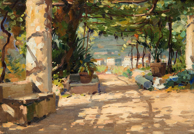 Luca Albino (Italian, 1884-1952) The street leading to the Hotel Belvedere at Ravello; The garden of Hotel Belvedere 31 x 21cm (12 3/16 x 8 1/4in); 23 x 33cm (9 x 13in). (2)