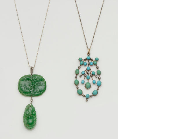 A turquoise and diamond pendant and a jade and diamond pendant  (2)