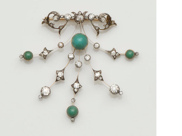 A turquoise and diamond spray brooch