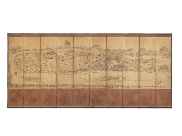 A Korean painted silk-covered wood ten-leaf screen 19th century