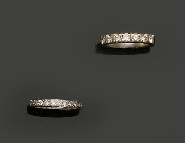 A diamond eternity ring and diamond half-eternity ring  (2)