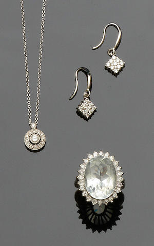 A pair of diamond earpendants, a diamond pendant and aquamarine and diamond cluster ring (3)