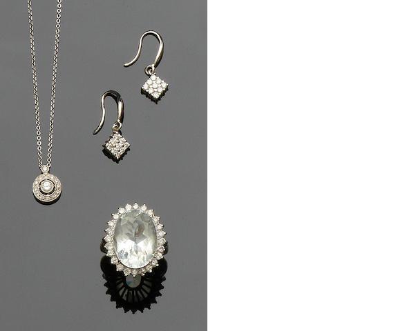 A pair of diamond earpendants, a diamond pendant and aquamarine and diamond cluster ring (3)