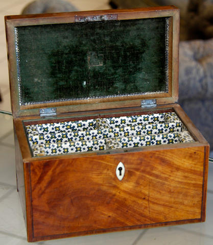 A Georgian inlaid tea caddy
