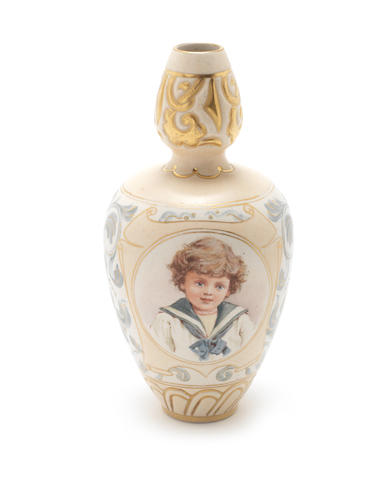 Ada Dennis for Doulton Lambeth a Carrara Ware Vase with Child Studies, circa 1885