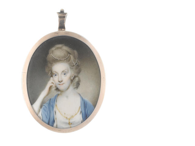 Circle of John Bogle (British, 1746-1803) A Lady, called Mrs Ives Browne, wearing white dress edged with gold, blue mantle trimmed with ermine, her wig powdered, upswept and dressed with strands of pearls