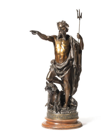 G.Troullari 'Neptune' a Large Gilded Metal Sculpture, circa 1880