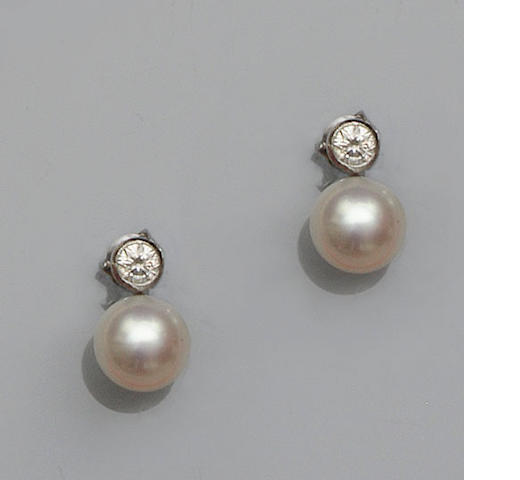 A pair of diamond and cultured pearl earstuds
