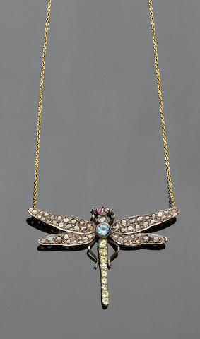 A gemset dragonfly pendant necklace