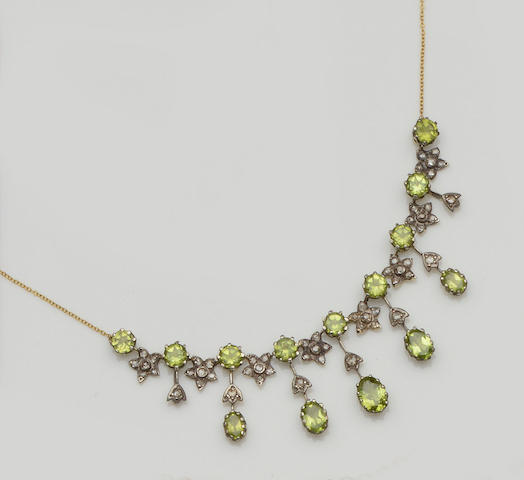 A peridot fringe necklace