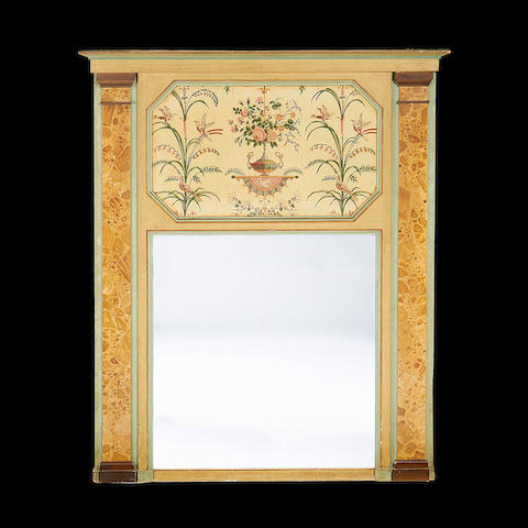 A painted trumeau mirror