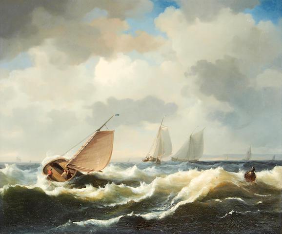 English School, 19th Century Fishing boats in choppy waters