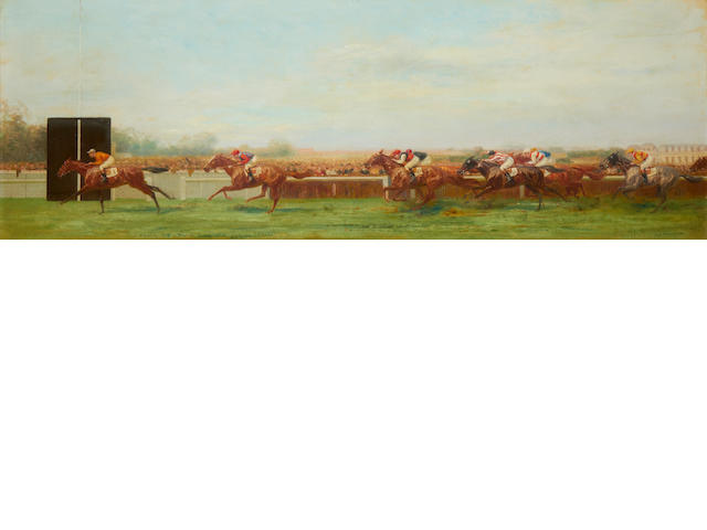 "Eugène Pechaubes (French, 1890-1967) 'Chantilly 1938 - Prix du Jockey Club gagne par ""Cillas""'"