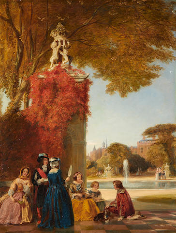 James Digman Wingfield (British, 1800-1872) Figures in a formal garden