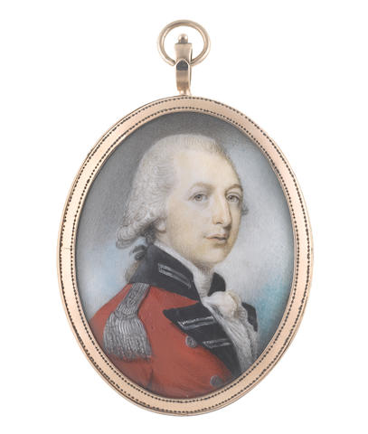 Philip Jean (British, 1755-1802) An Officer, wearing red coat with navy and silver facings, silver epaulette, white frilled chemise and stock, his powdered wig worn en queue and tied with a black ribbon bow